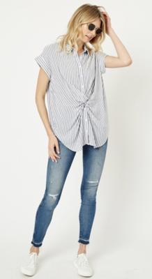 Stripe Button-Down Twist Front Shirt