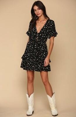 Black Ruffle Gauze Dress