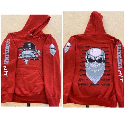 BIG SKULL HOODIE Cherry Red /Grey