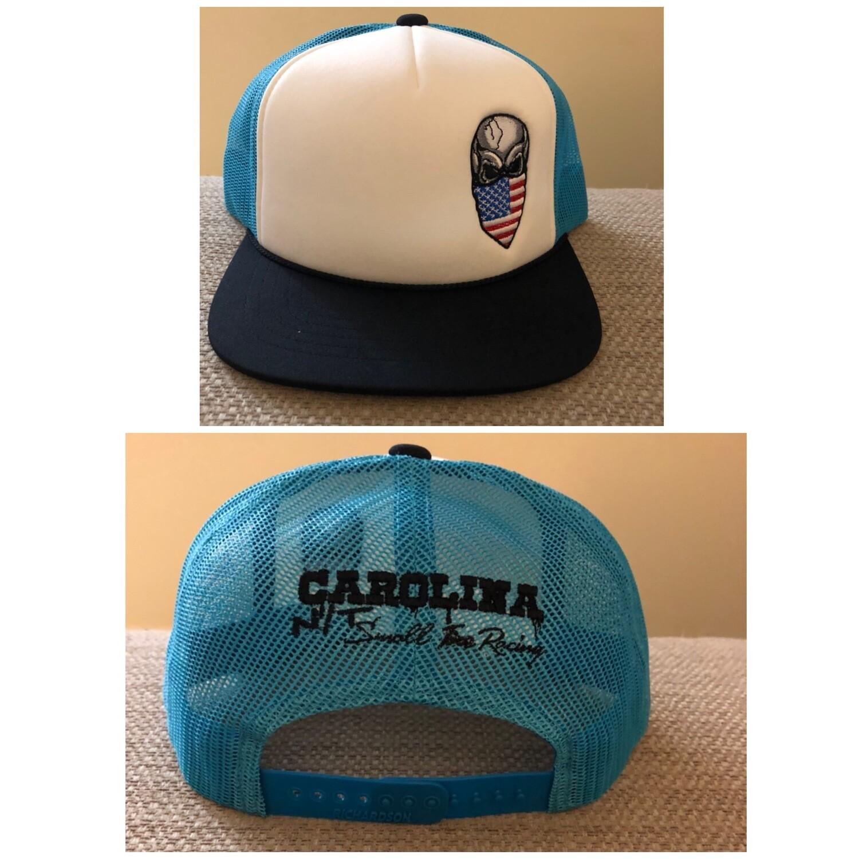 Carolina Blue /America flag Skull Trucker Hat