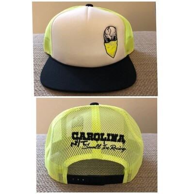 Neon Yellow/white/black with Neon Yellow Skull Trucker HAT