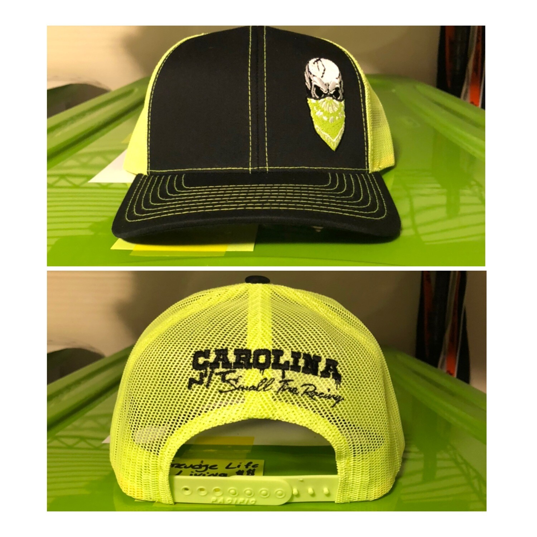 Neon Yellow /Black Big Skull Trucker Hat