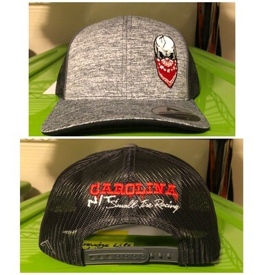 Heather Grey/Red Skull Trucker Hat