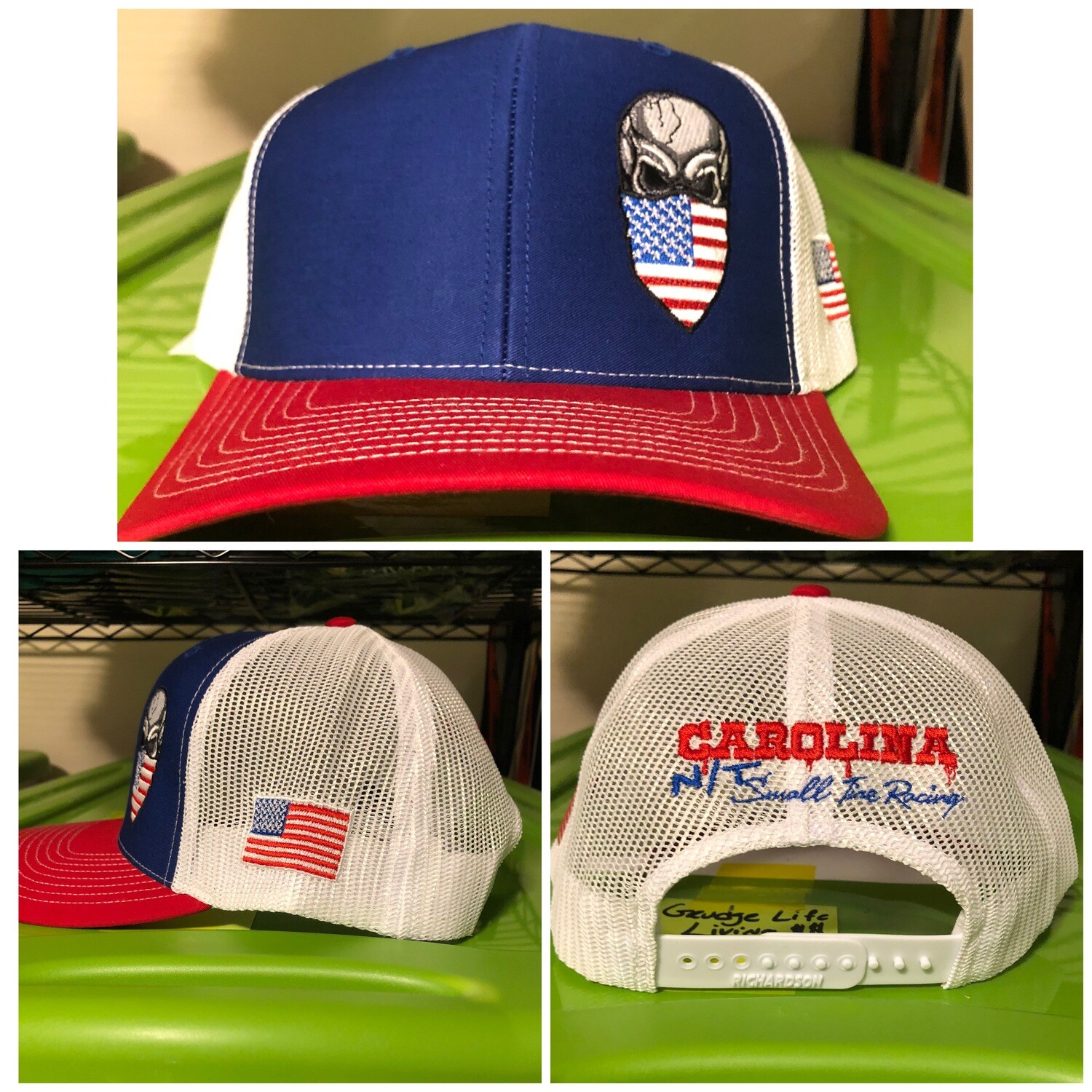 American Flag Skull Trucker Hat Red/White/Blue