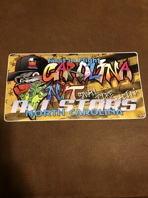 License plate Decal Graffiti/Gold