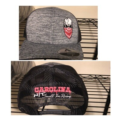 Grey/PINK Big Skull Trucker Hat