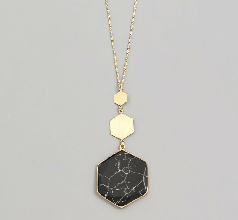 Hexagon Stone Pendant