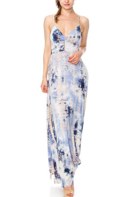 Tie Dye Twisty Dress-Coral