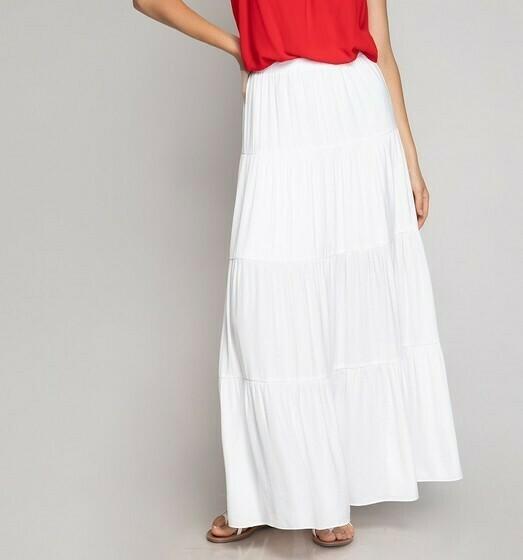 Silky Maxi Skirt -Off White