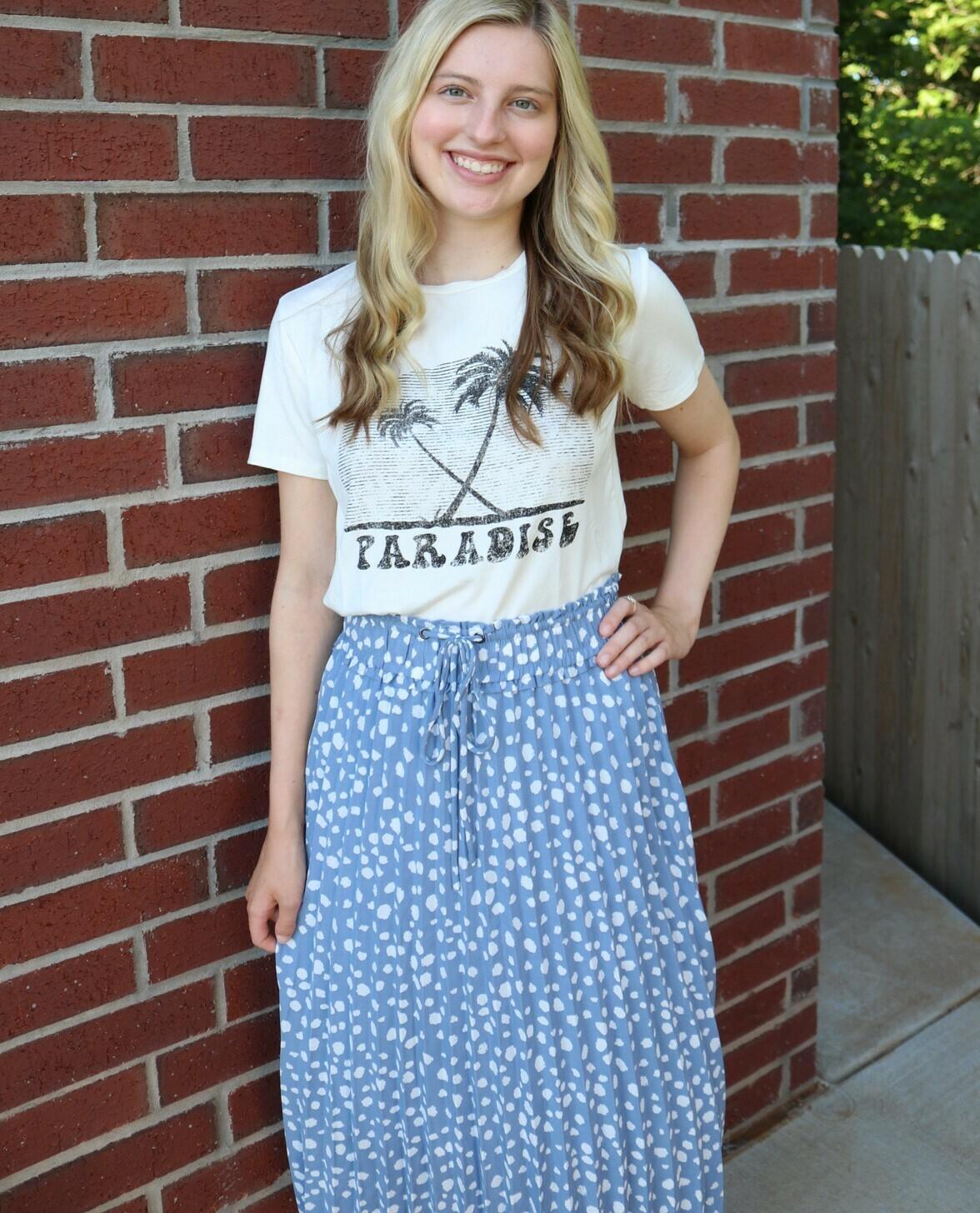 Leopard Skirt-Blue