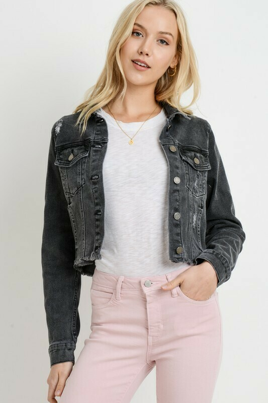 Black Freyed Denim Jacket