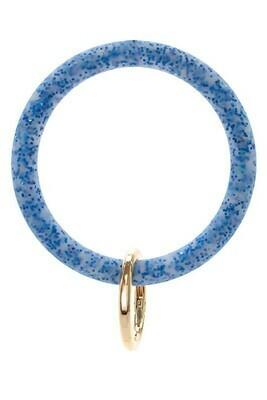 Silicone Glitter Keychain-Blue