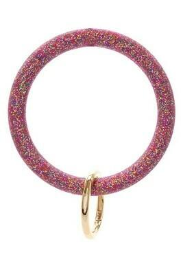 Silicone Glitter Keychain-Fuchsia