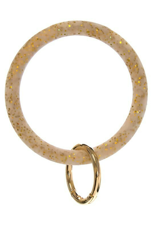 Silicone Glitter Keychain-Gold