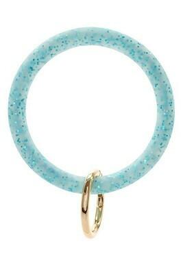 Silicone Glitter Keychain-Lt Blue