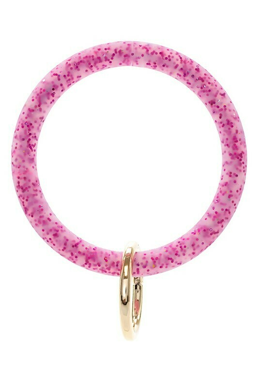 Silicone Glitter Keychain-Pink