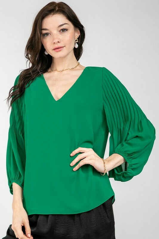 Bubble Sleeve Blouse-Green