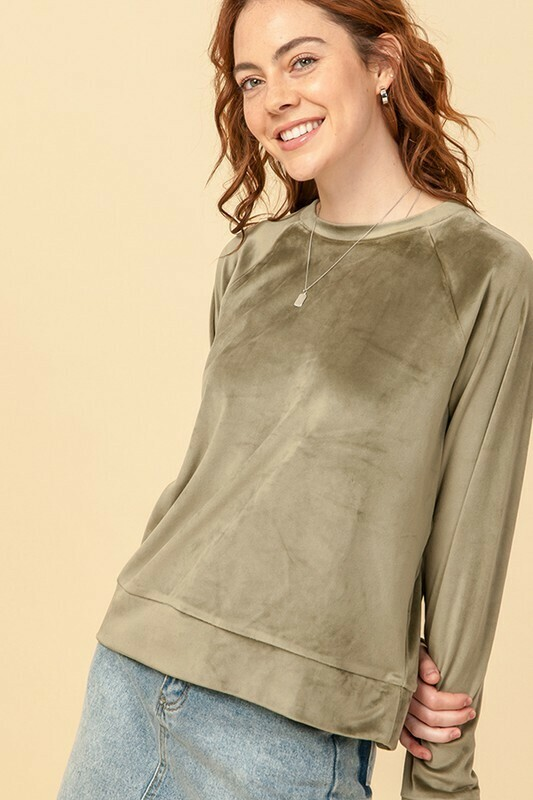 Velvet Dreams Top-Olive