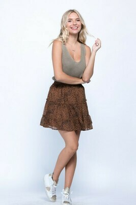 Animal Tiered Skirt-Mocha