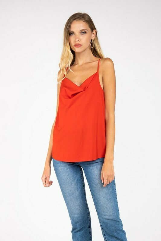 Cowl Neck Cami-Red