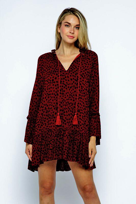 Faith Dress-Burgundy