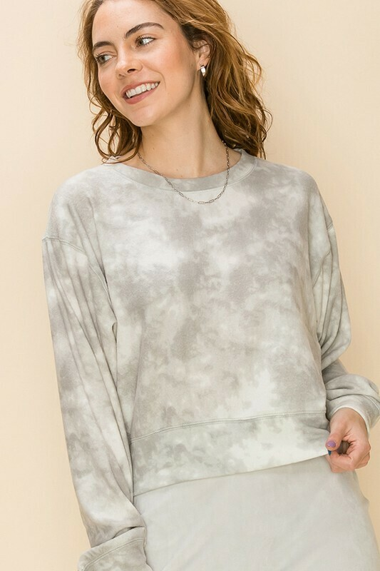Cloud Tie Dye Top-Grey