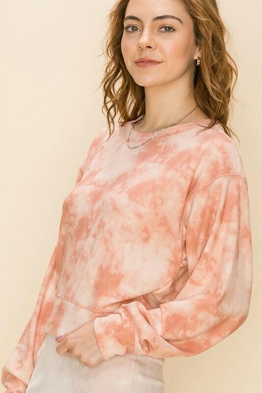 Cloud Tie Dye Top-Rose