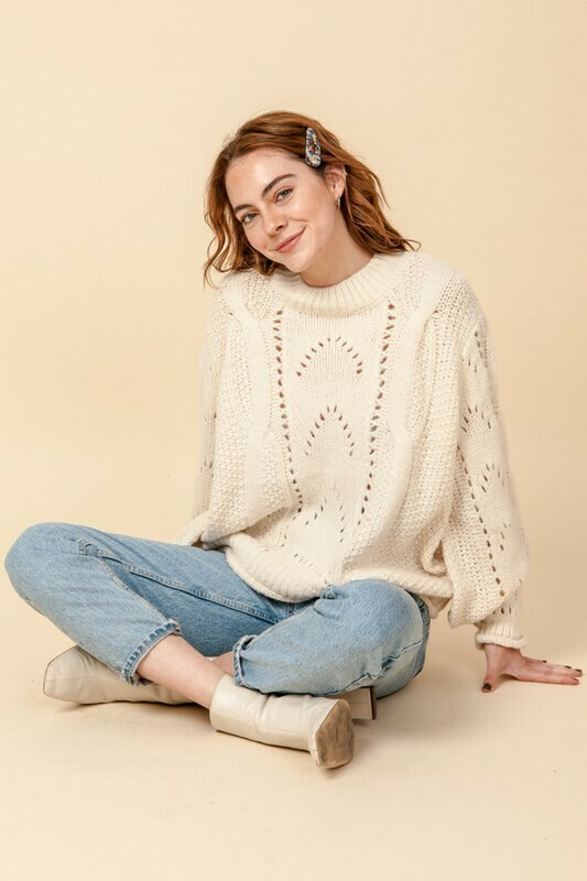Chunky Cable Sweater-Cream
