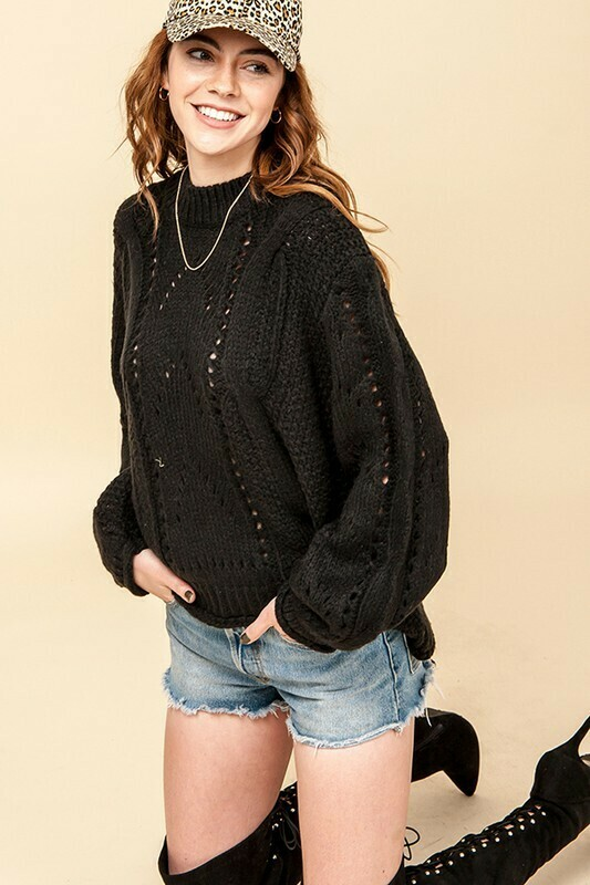 Chunky Cable Sweater-Blk