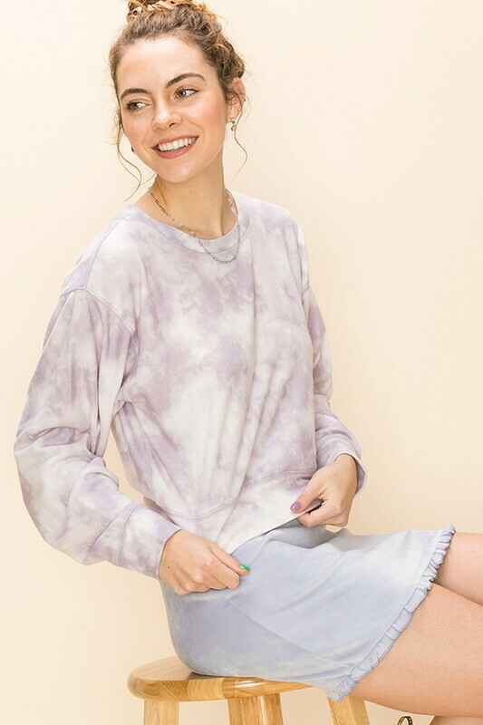 Cloud Tie Dye Top-Periwinkle