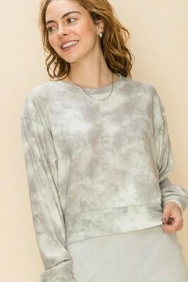 Cloud Tie Dye Top-Grey