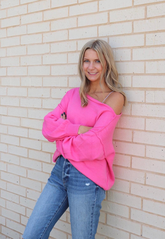 Eighties Vibe Sweater-D Pink