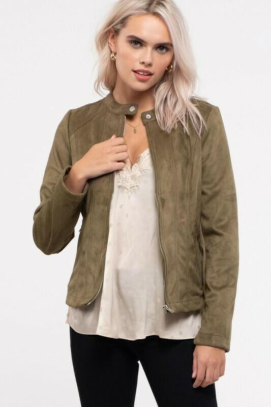 Suede Moto Jacket-Olive