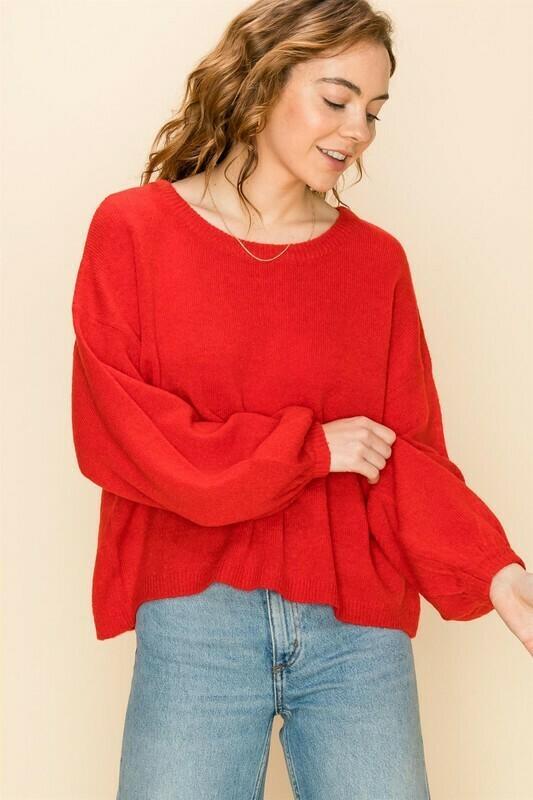 Crop Sweater-Red