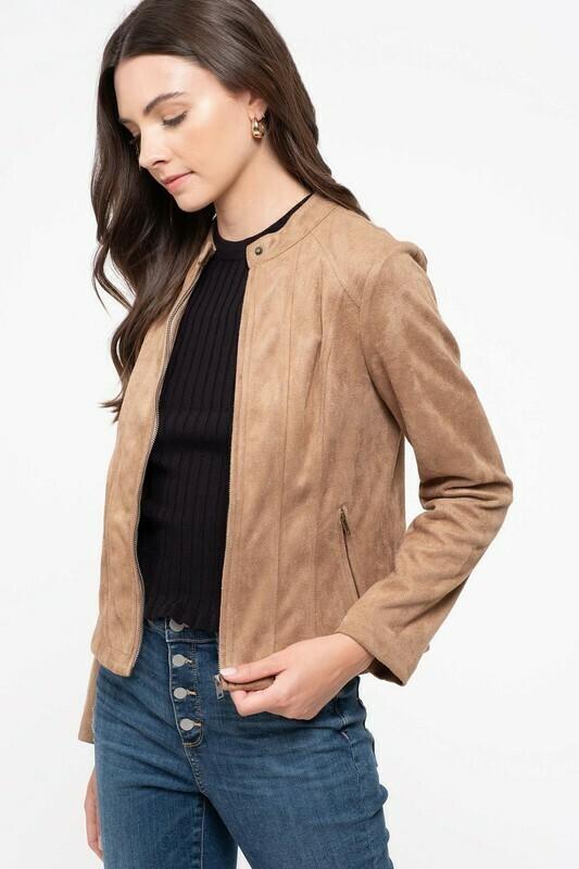 Suede Moto Jacket-Khaki