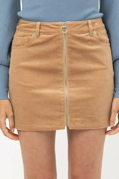 Cord Skirt-Honey