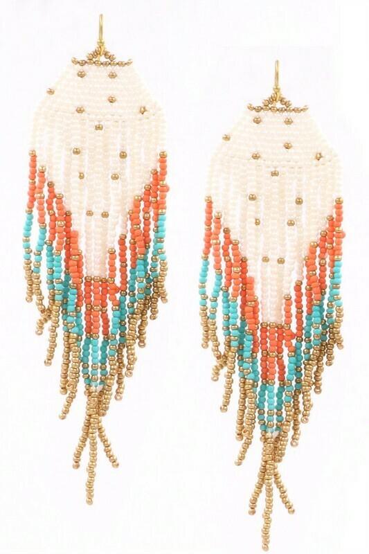 Orange Turq Beaded Earrings