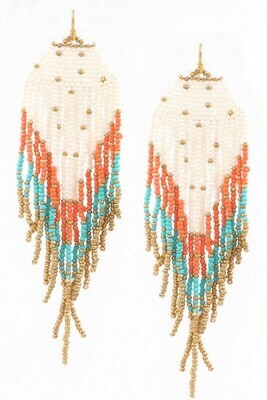 Orange Turq Beaded Earrings