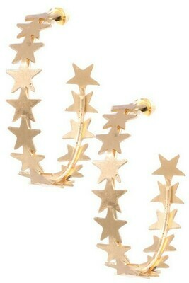 Vintage Gold Star Hoops