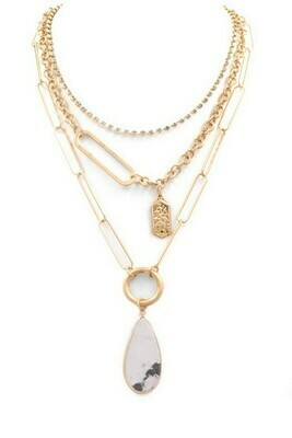 Stone Drop Necklace-Wht
