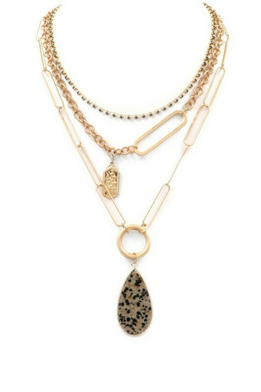 Stone Drop Necklace-Dalmation