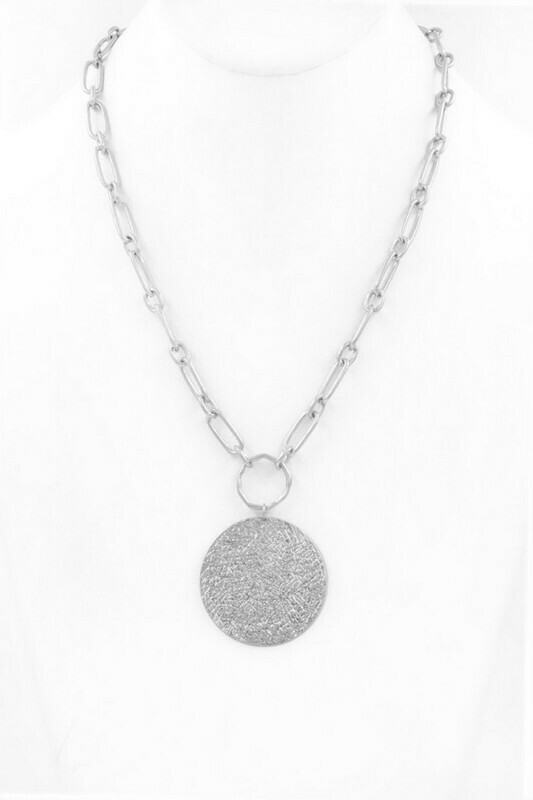 Silver Disk Chain Necklace