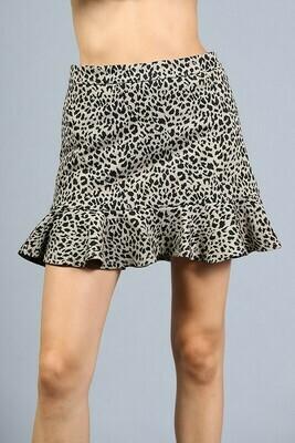 Leopard Ruffle Skirt