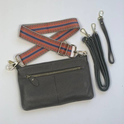 Tonya Leather Crossbody-Gry