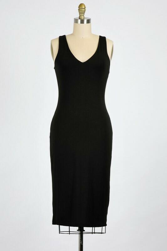 Midi Bodycon Dress-Blk