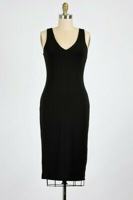 Midi Bodycon Dress-Blk