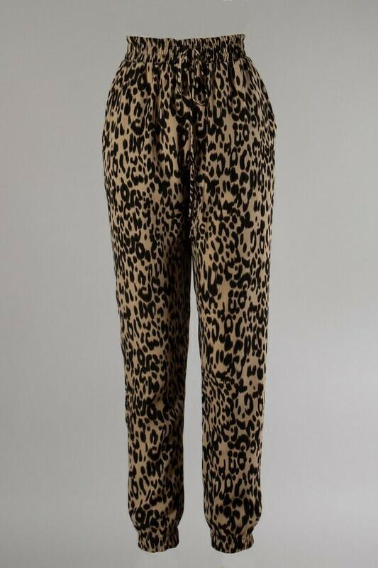 Easy Leopard Jogger-Camel