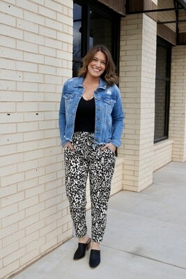 Easy Leopard Jogger-Ivory