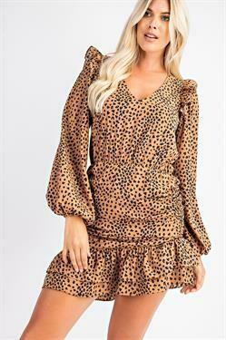 Rouched Cheetah Dress