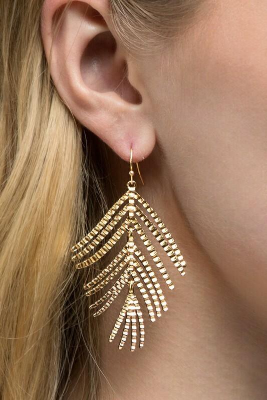 Leaf Dangle Earring-Gold